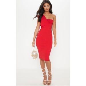 Prettylittlething Red Midi Dress